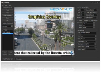 JGraphics offers full integration with JPlayout, JIPEncoder and JCapture, enabling the solutions to add graphics overlay on-the-fly.