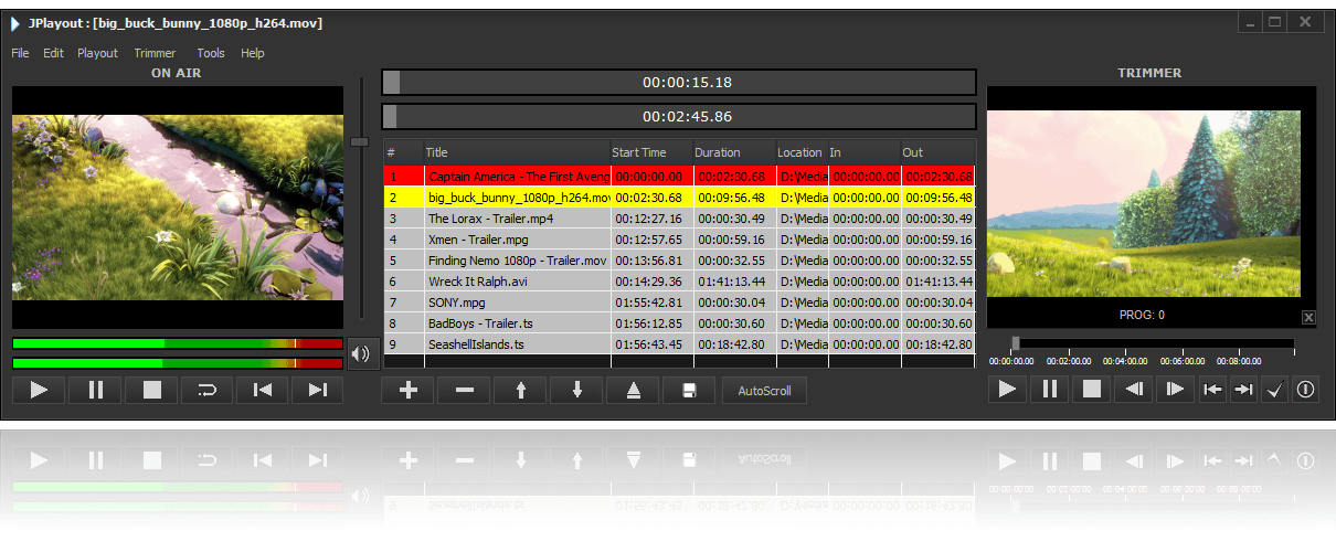 JPlayout main preview with On Air preview, playlist editor and trimmer preview.