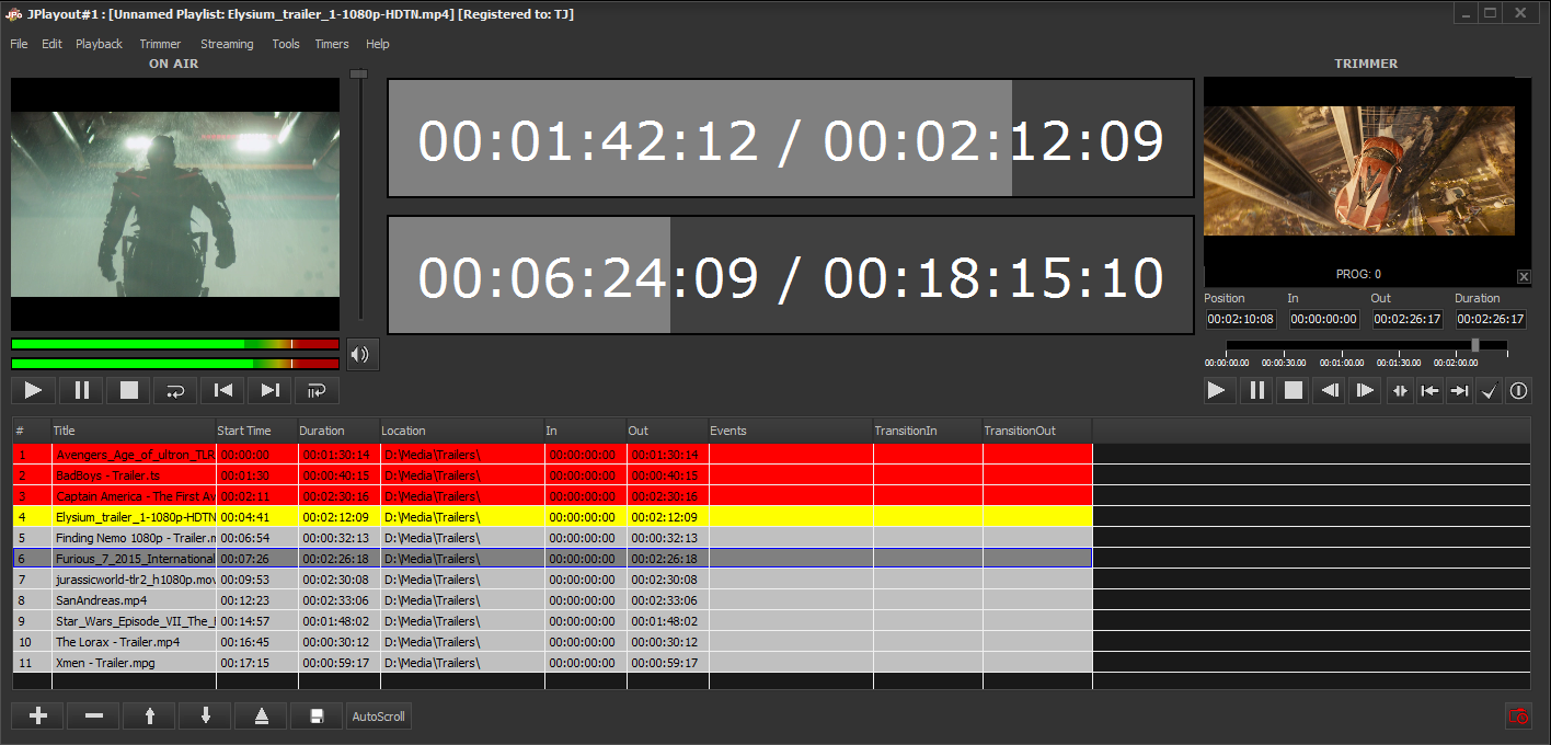 New and better preview in full-screen mode and single channel mode in the last release of JPlayout.