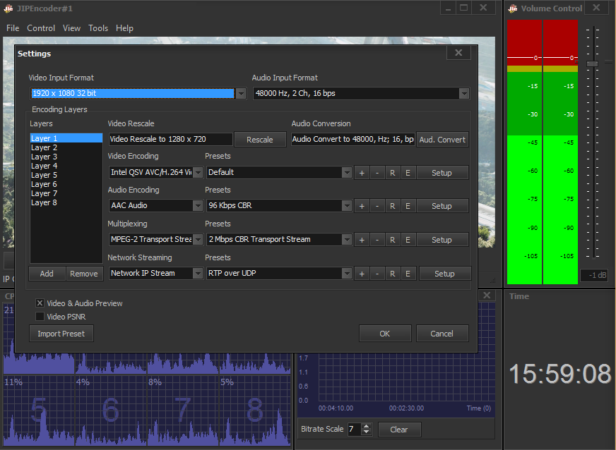 Multi-Layer encoding now added - for producing multiple outputs from a single input stream or file.